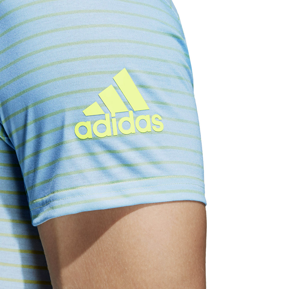Adidas Melbourne Striped T-Shirt - Light Blue