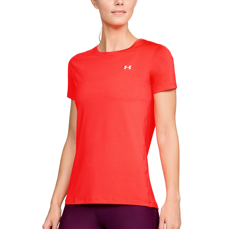 Under armour heatgear armour t shirt tennis donna coral for Under armor heat gear t shirt