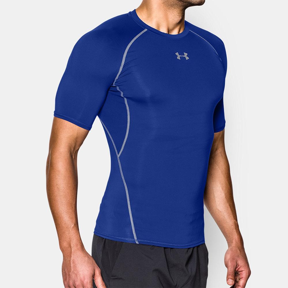Under armour heatgear t shirt tennis uomo blue for Under armor heat gear t shirt