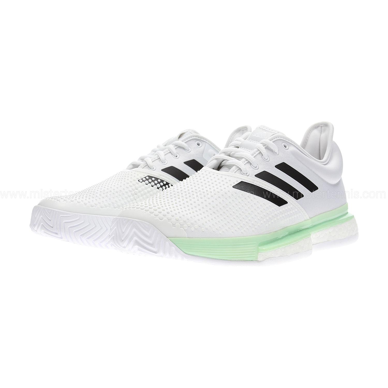 Adidas SoleCourt Boost - Cloud White/Core Black/Glow Green