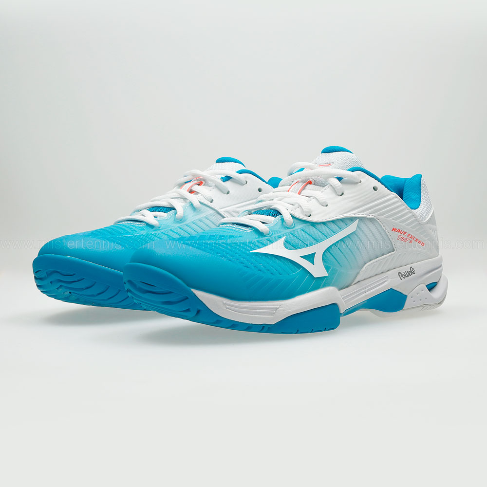 Mizuno Wave Exceed Tour 3 All Court - White/Turquoise