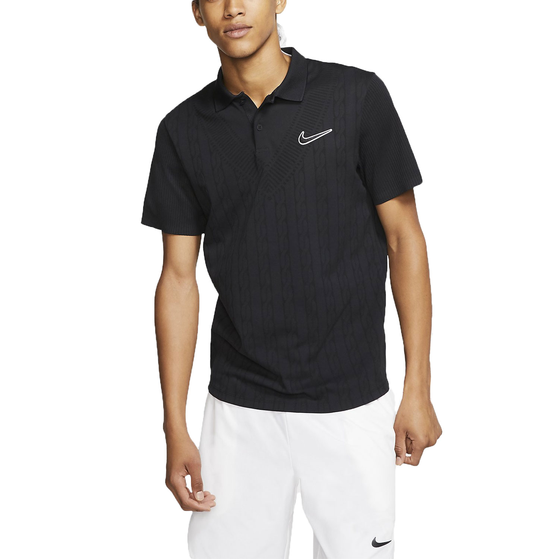 Nike Court Advantage Graphic Polo - Black