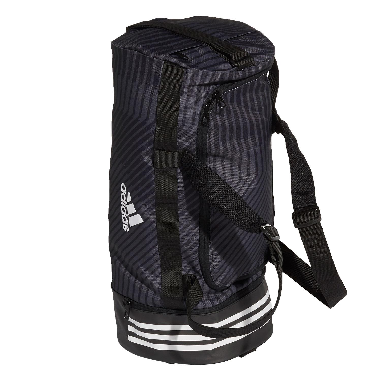 204d309798 ... Adidas 3 Stripes Convertible Duffle Bag - Black/White ...