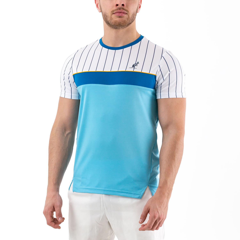 Australian Ace Pinstripes T-Shirt - Azzurro/Bianco