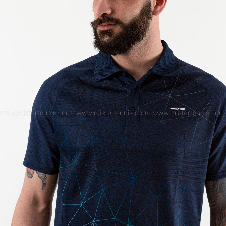 Head Performance Polo - Triangle Print/Dark Blue