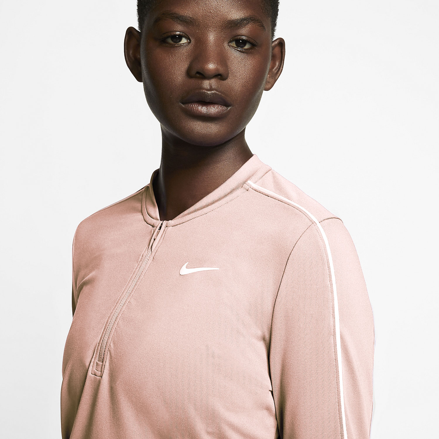 Nike Court Dry 1/2 Zip Shirt - Washed Coral/White