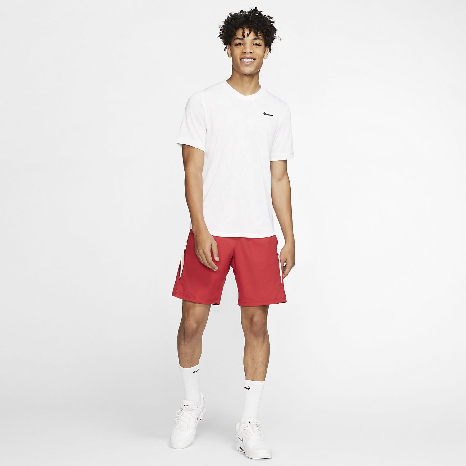 Nike Court Dry 9in Shorts - Gym Red/White