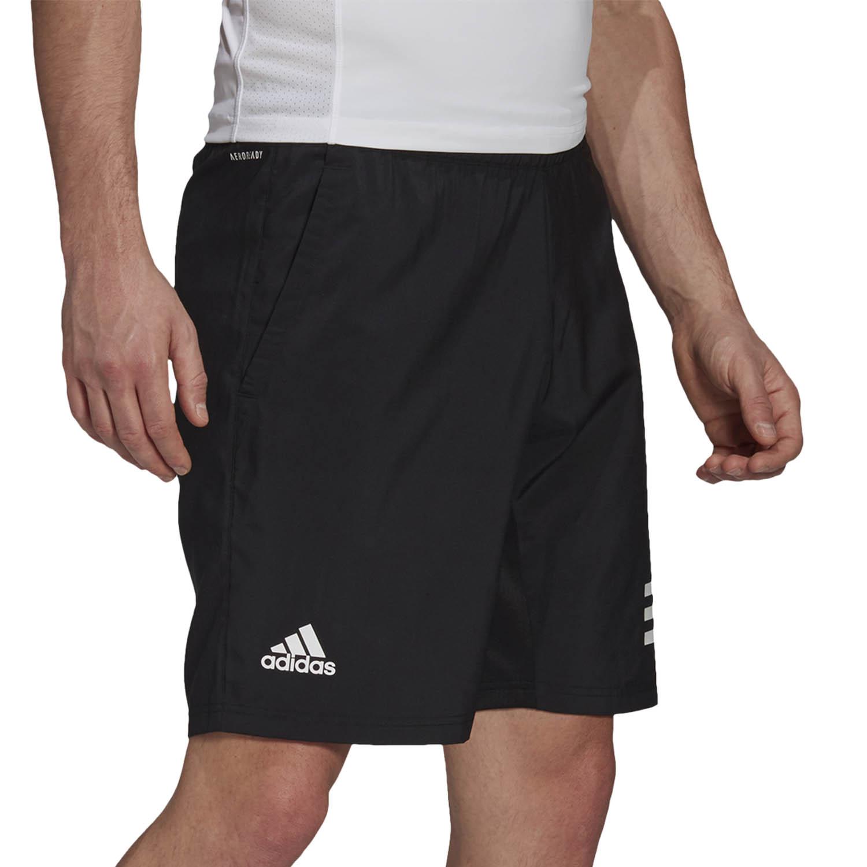 adidas Club 3-Stripe 9in Shorts - Black/White