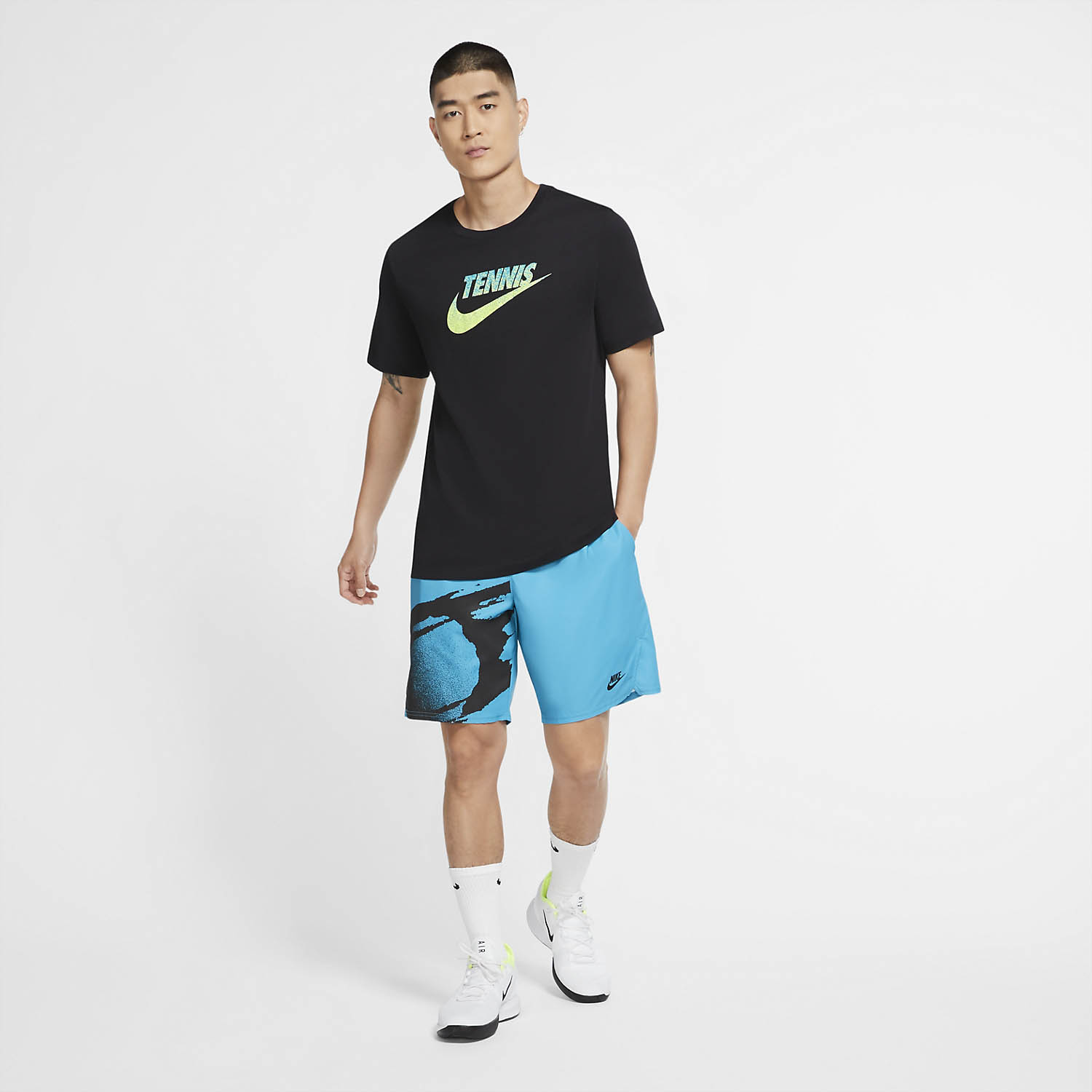 Nike Court Graphic T-Shirt - Black/Volt/Neo Turquoise