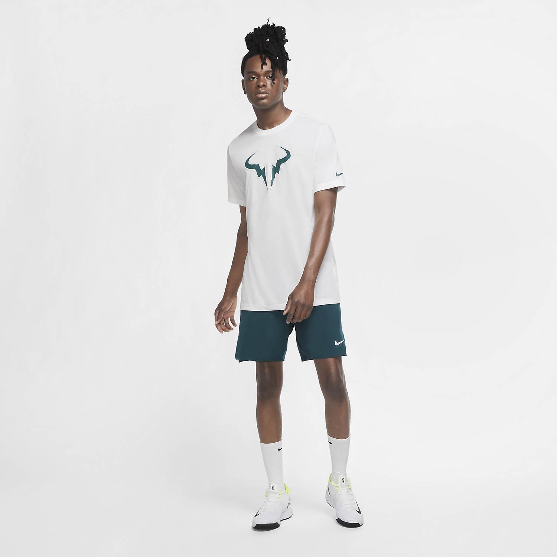 Nike Court Rafa Nadal T-Shirt - White/Dark Atomic Teal