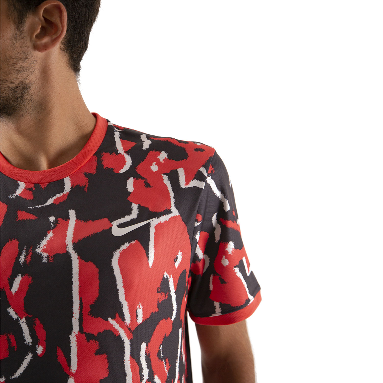 Nike Team Print T-Shirt - Ember Glow/White