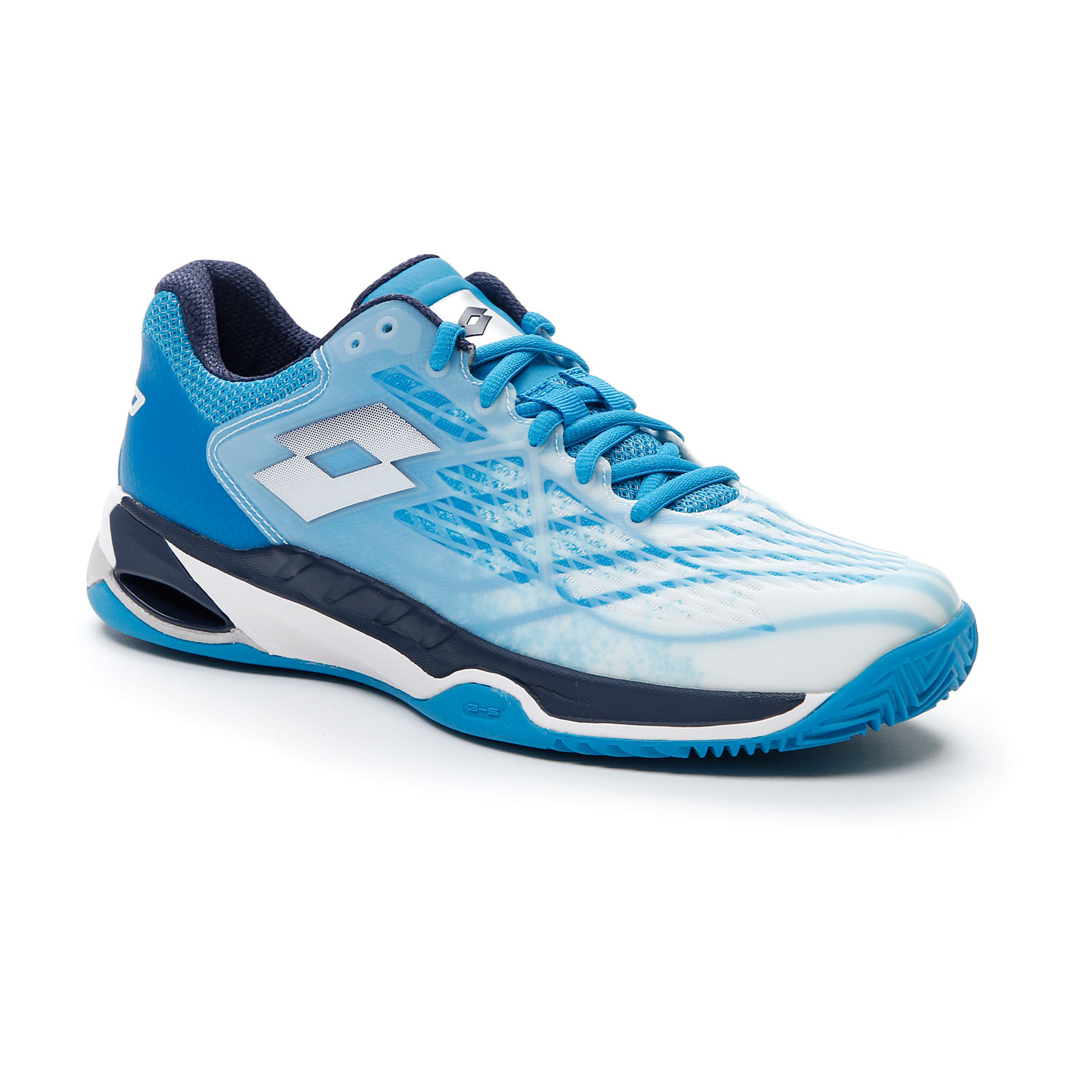 Lotto Mirage 100 Clay - All White/Navy Blue/Blue Bay