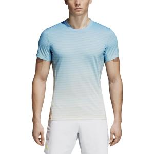 Men's Tennis Shirts Adidas Melbourne Striped TShirt  Light Blue CD3273