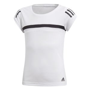 Top and Shirts Girl Adidas Girl Club TShirt  White/Black CV5907