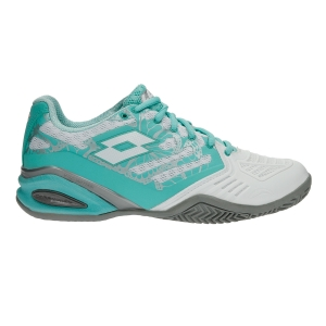 Women`s Tennis Shoes Lotto Stratosphere III Clay  White/Light Turquoise T3339