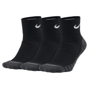 Tennis Socks Nike Dry Cushion Quarter x 3 Socks  Black/Grey SX5549010