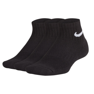 Junior Tennis Socks Nike Junior Performance Cushioned Quarter Training x 3 Socks  Black SX6844010