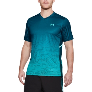 Men's Tennis Shirts Under Armour Forge Patterned VNeck TShirts  Petrol 13066370716