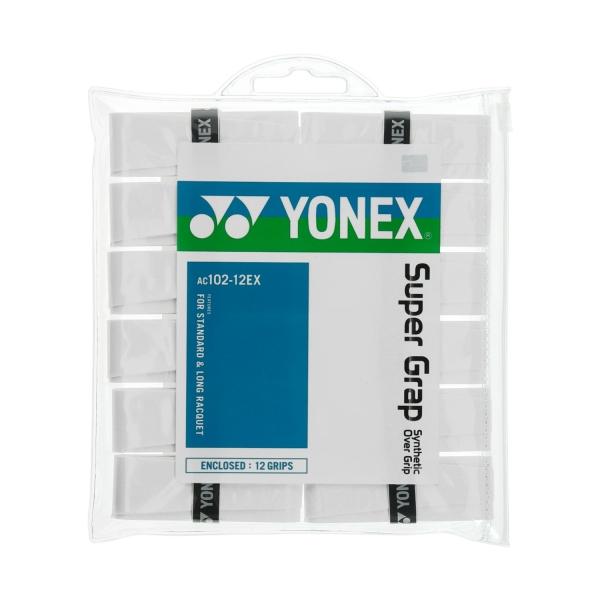 Yonex Super Grap x 12 Overgrip - White AC102EX12BI