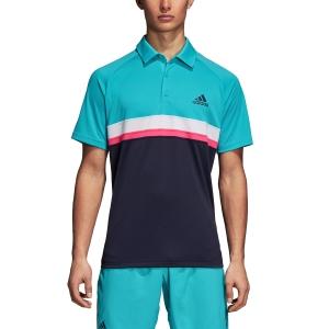 Men's Tennis Polo Adidas Club Color Block Polo  Turquoise/Navy/White D98739