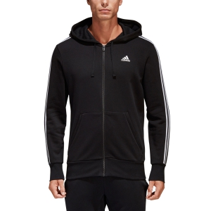 Men's Tennis Shirts and Hoodies Adidas Essentials 3 Stripes Hoodie  Black S98786