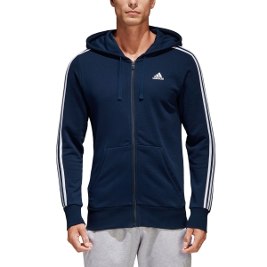 Men's Tennis Shirts and Hoodies Adidas Essentials 3 Stripes Hoodie  Navy S98787