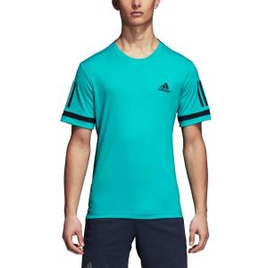Men's Tennis Shirts Adidas Club 3 Stripes TShirt  Turquoise/Navy D93023