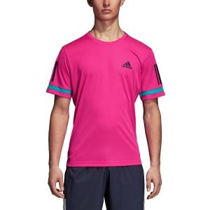 Men's Tennis Shirts Adidas Club 3 Stripes TShirt  Fuxia/Black D93022