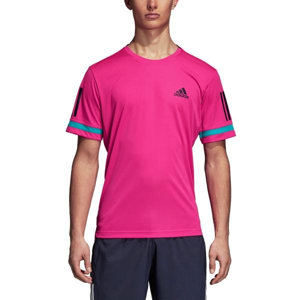 Adidas Club 3 Stripes T-Shirt - Fuxia/Black D93022