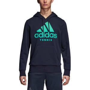 Men's Tennis Shirts and Hoodies Adidas Category Hoodie  Navy/Green DM7589