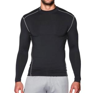 Tennis Men's Underwear Under Armour ColdGear Compression Mock Shirt  Black/Grey 12656480001
