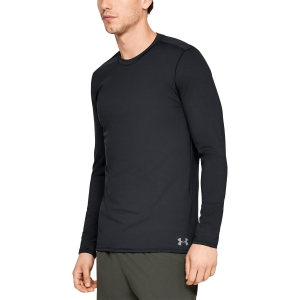 Men's Tennis Shirts and Hoodies Under Armour Fitted ColdGear Crew Shirt  Black 13324910001
