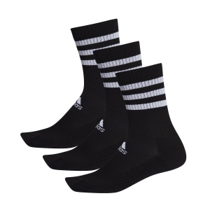 Tennis Socks Adidas 3 Stripes Cushioned Crew X 3 Socks  Black DZ9347