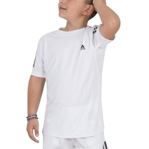 Polo e Shirts Tennis Adidas Boy Club 3 Stripes TShirt  White/Black DU2486
