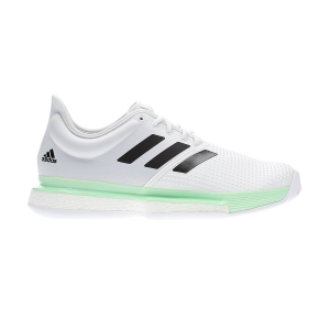 Men`s Tennis Shoes Adidas SoleCourt Boost  Cloud White/Core Black/Glow Green EF2068