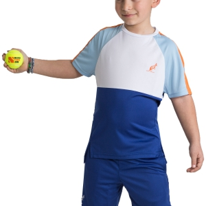 Tennis Polo and Shirts Australian Boy Ace Performance Block TShirt  Blue/White 77573B54