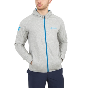 Maglie e Felpe Tennis Uomo Babolat Core Hood Sweat Full Zip Hoodie  Grey/Light Blue 3MS180413002