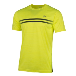 Men's Tennis Shirts Dunlop Performance Crew TShirt  Yellow/Dark Grey 71328