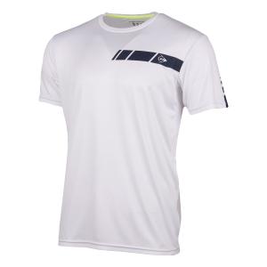 Maglietta Tennis Uomo Dunlop Club Crew TShirt  White/Navy 71333