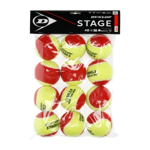 Dunlop Tennis Balls Dunlop Stage 3 Red  12 Palline in Polybag 601344