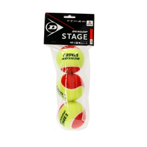 Dunlop Tennis Balls Dunlop Stage 3 Red  3 Ball Polybag 601340