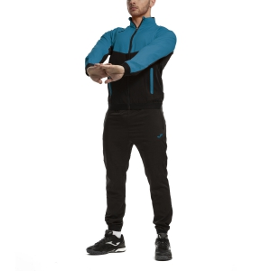 Men's Tennis Suit Joma Essential Micro Tracksuit  Black/Turquoise 101021.116