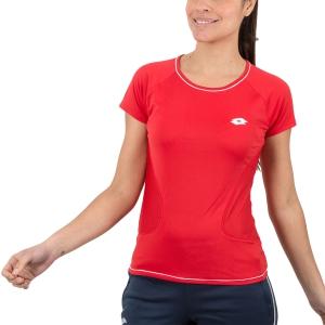 Women`s Tennis T-Shirts and Polos Lotto Shela IV TShirt  Red/White T5211