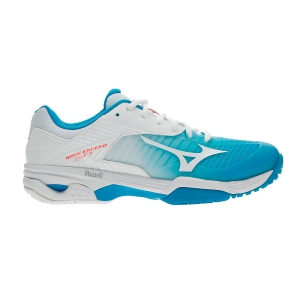 Women`s Tennis Shoes Mizuno Wave Exceed Tour 3 All Court  White/Turquoise 61GA187125