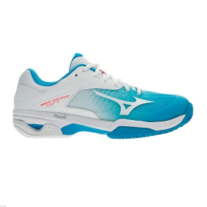 Women`s Tennis Shoes Mizuno Wave Exceed Tour 3 Clay Court  White/Turquoise 61GC187525