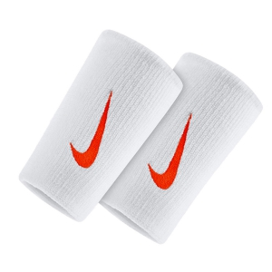 Fasce e Polsini Tennis Nike Premier DoubleWide Wristbands  White/Orange N.NN.51.109.OS