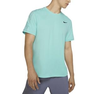 Camisetas de Tenis Hombre Nike Court Dry Camiseta  Light Aqua/Black AT4305434