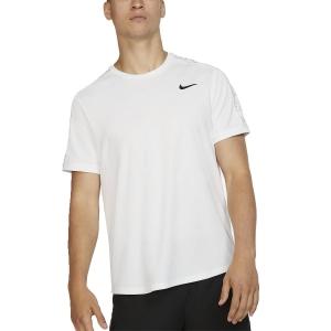 Maglietta Tennis Uomo Nike Court Dry Maglietta  White/Black AT4305100