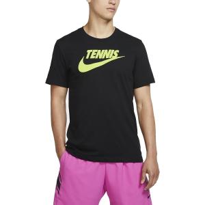 Camisetas de Tenis Hombre Nike Court DriFIT Camiseta  Black/Volt CJ0429010