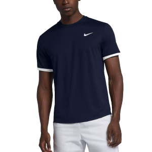 Maglietta Tennis Uomo Nike Court Dry Maglietta  Obsidian/White 939134452